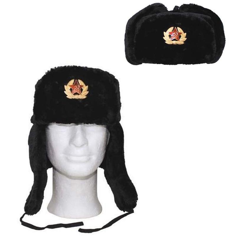Cappello colbacco russo spilla falce martello nero neve invernale  copriorecchie ... 9ad11bf89842
