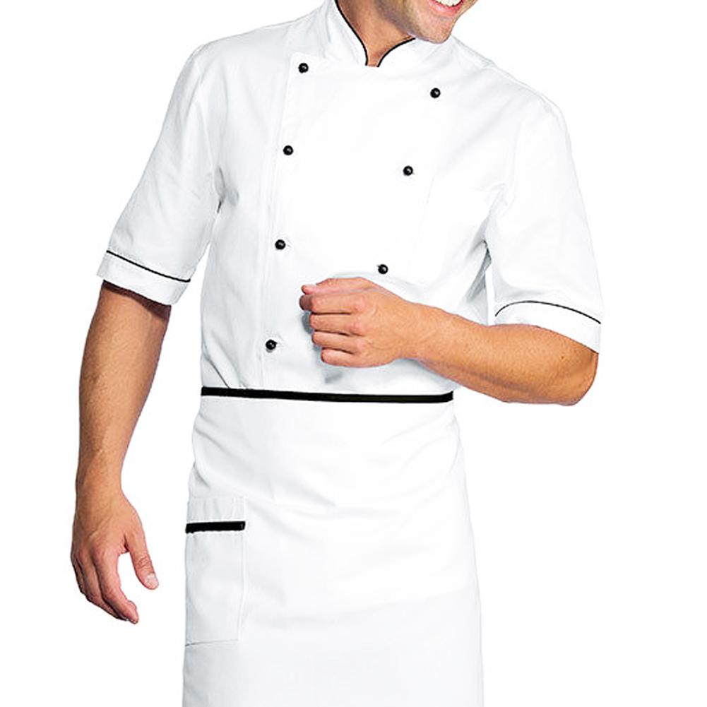 Giacca cucina maniche corte chef ristorante pizzeria hotel elegante bianca 40c8df122bc2