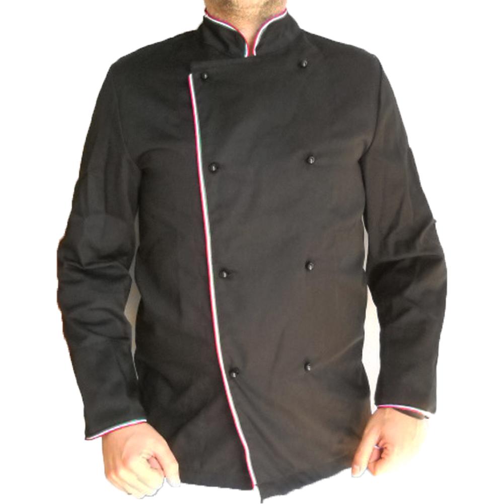 Giacca cuoco nera italia tricolore cotone abbigliamento chef cucina  ristorante ... bd7624503387