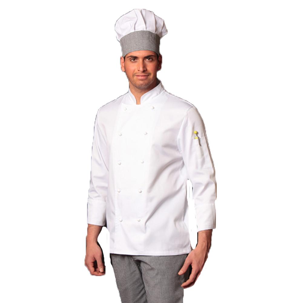 Completo bianco da cuoco giacca e pantalone da cucina sale e pepe con  cappello ... d6e30965565a