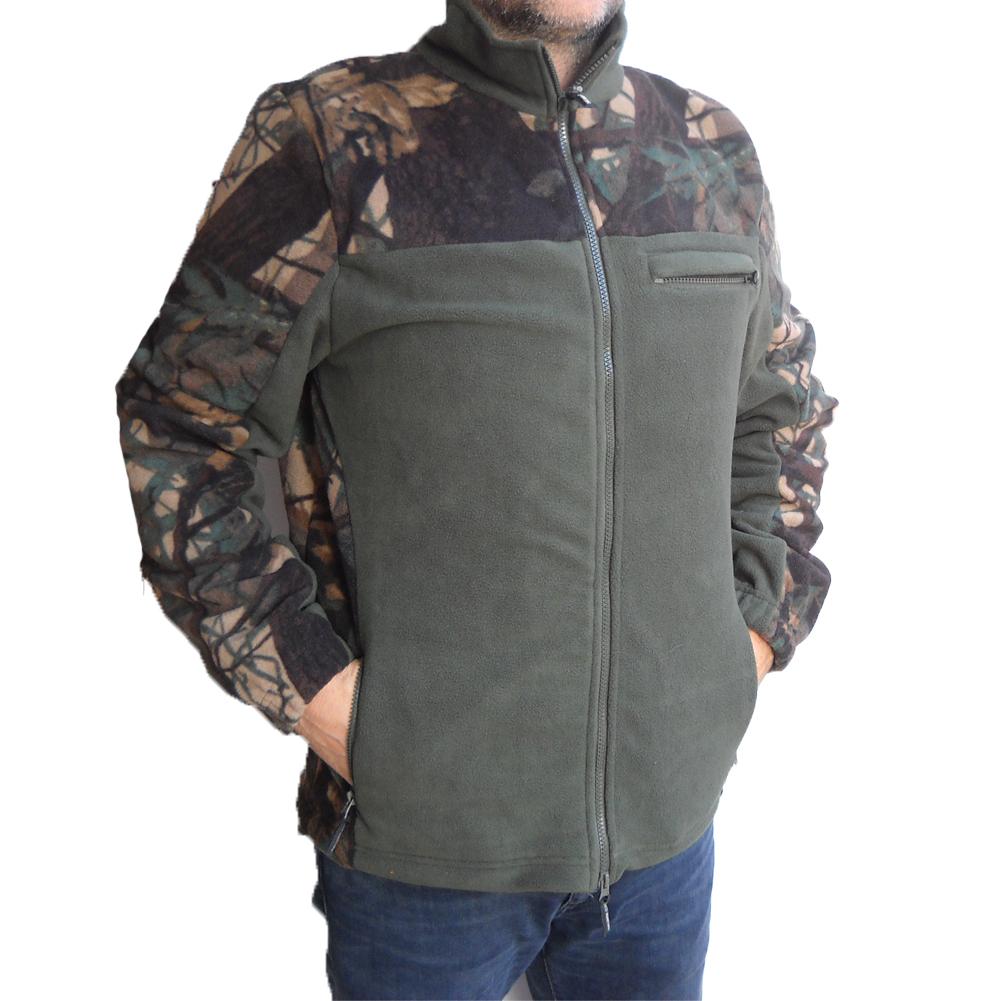 Giacca pile caccia bosco verde neve invernale calda abbigliamento montagna  uomo ... 0a217fd4687