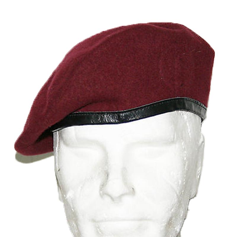 Cappello basco paracadutista amaranto bordeaux copricapo bordo pelle lana 1fff39928086