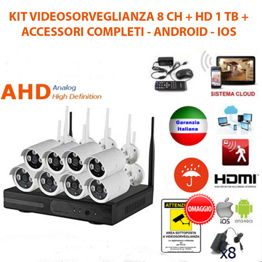 KIT VIDEOSORVEGLIANZA WIRELESS FULL WIFI HD IP 8 TELECAMERE NVR LAN REMOTO 3G HA