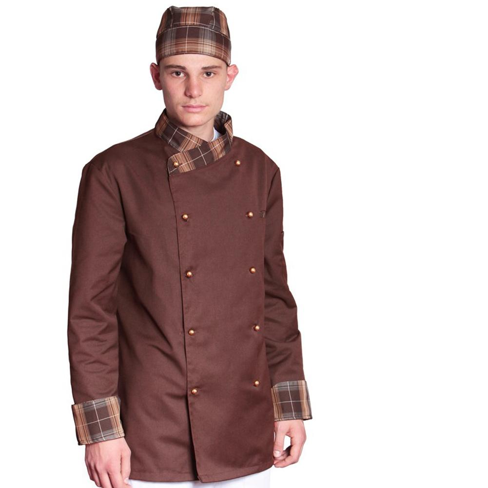 ... Giacca cuoco chef giacca bianca nera blu celeste grigia rossa marrone  vari color c8cefd60cc73