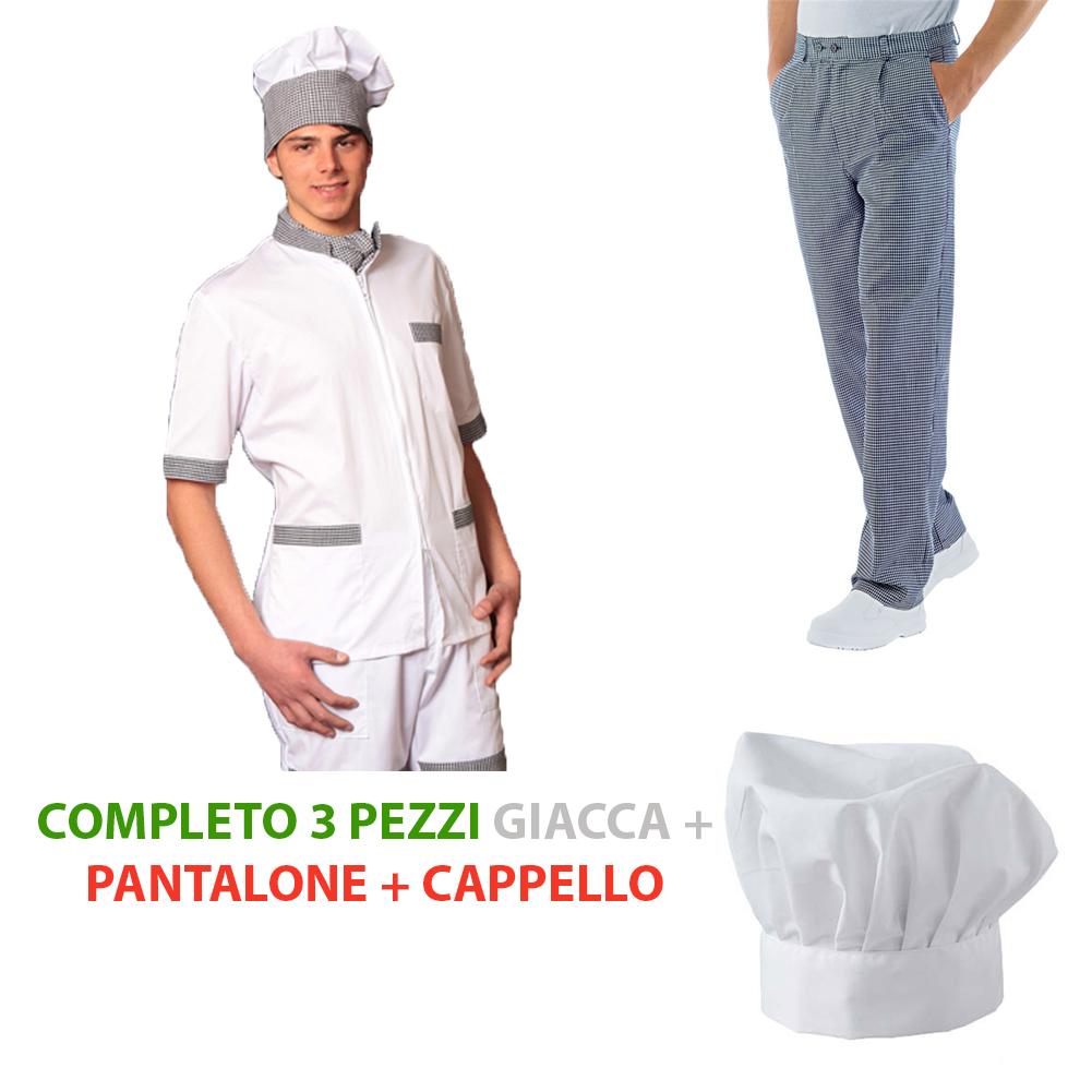 Dettagli su Completo da cuoco giacca e pantalone sale e pepe con cappello  chef da cucina