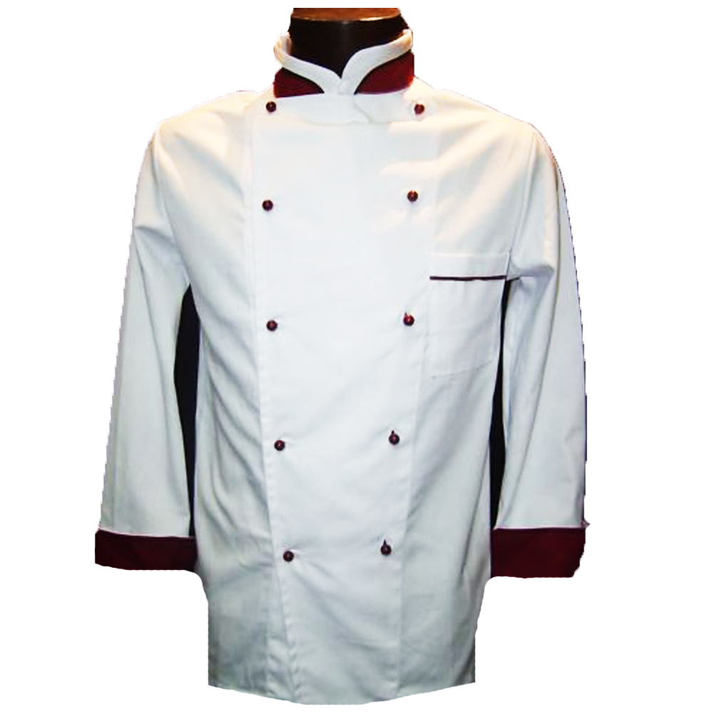 Uniform tunic jacket chef white burgundy long sleeve chef kitchen ristopub