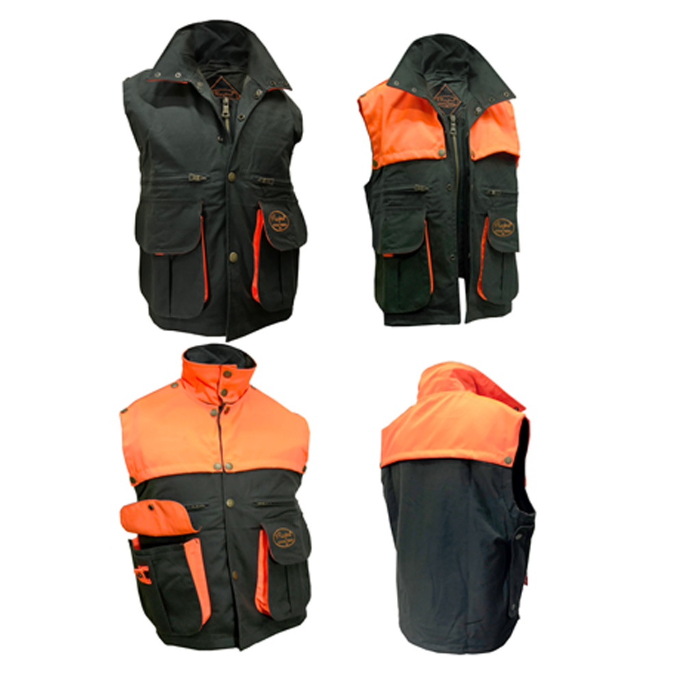 Sleeveless vest kanvas high visibility safety orange hunting man waxed