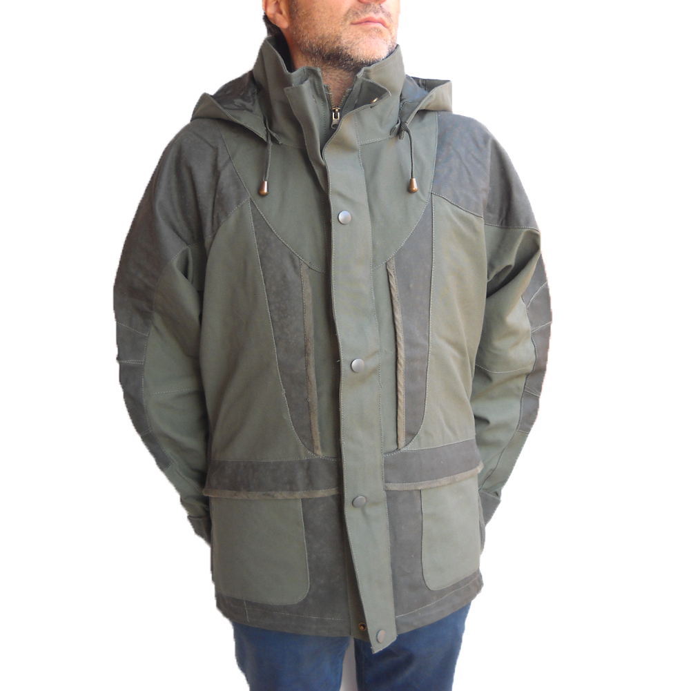 Jacket hunting canvas tear-proof, waterproof men rain hood