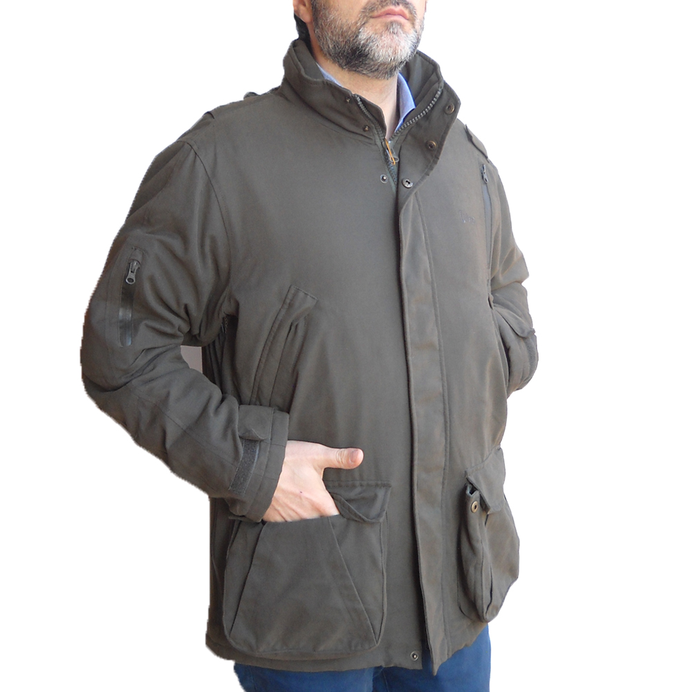 Windproof jacket hunting wild boar with orange water-repellent clothing hood