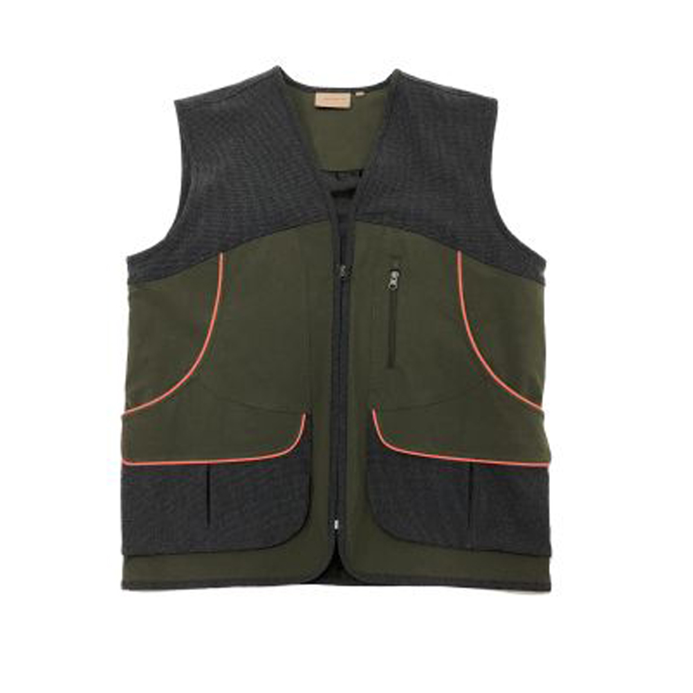 Vest hunting fishing nylon-elastane reinforcements pockets sleeveless man zip