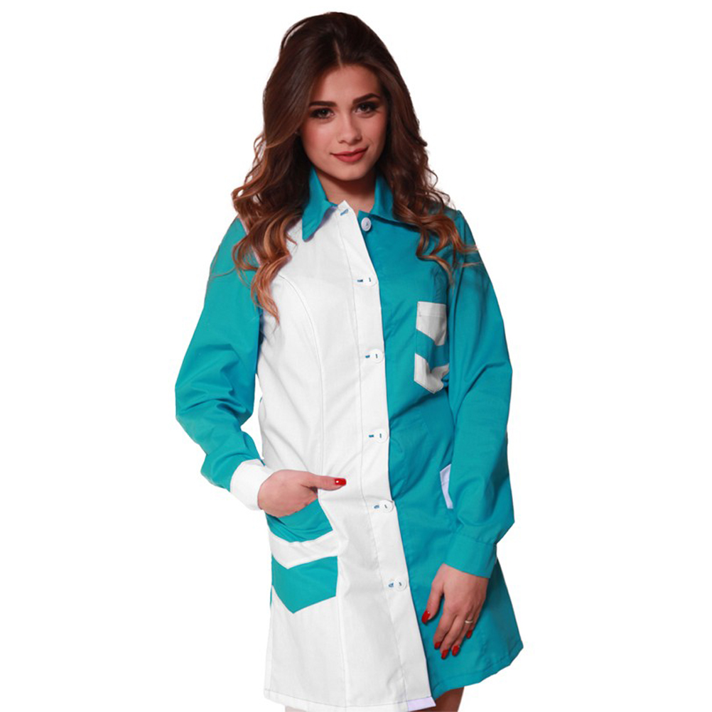 Coat apron teacher cleaning job buttons pockets women's long sleeve