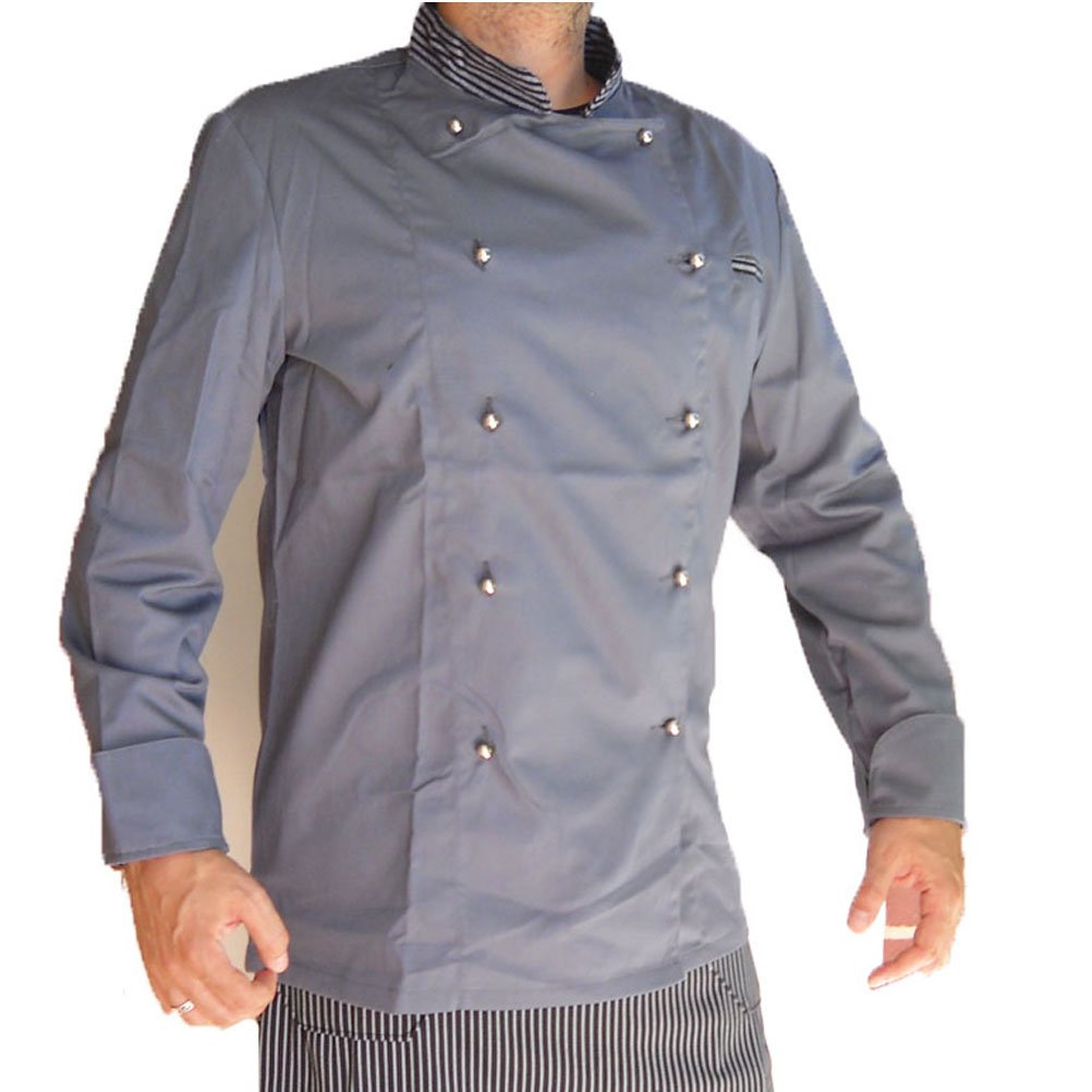 Jacket chef gray evening long sleeves chef made in italy size m kitchen