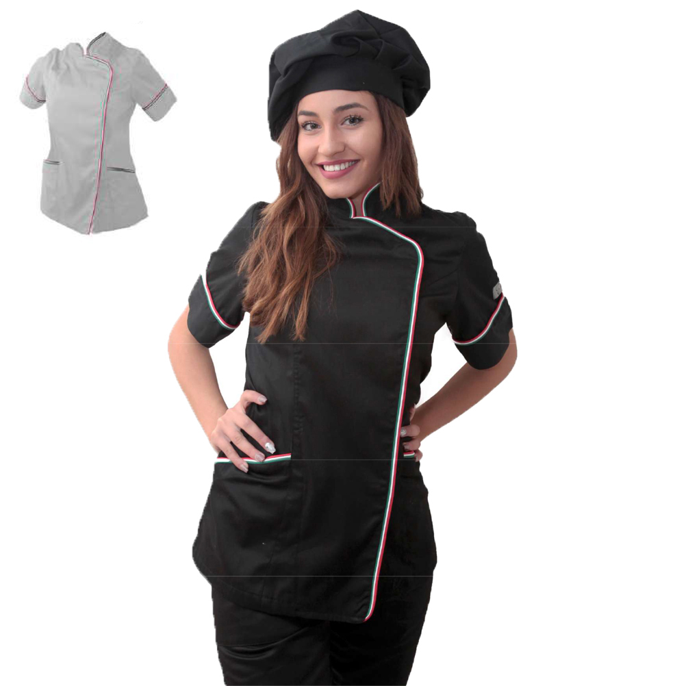 Tunic chef woman chef black white half sleeves women's cotton kitchen