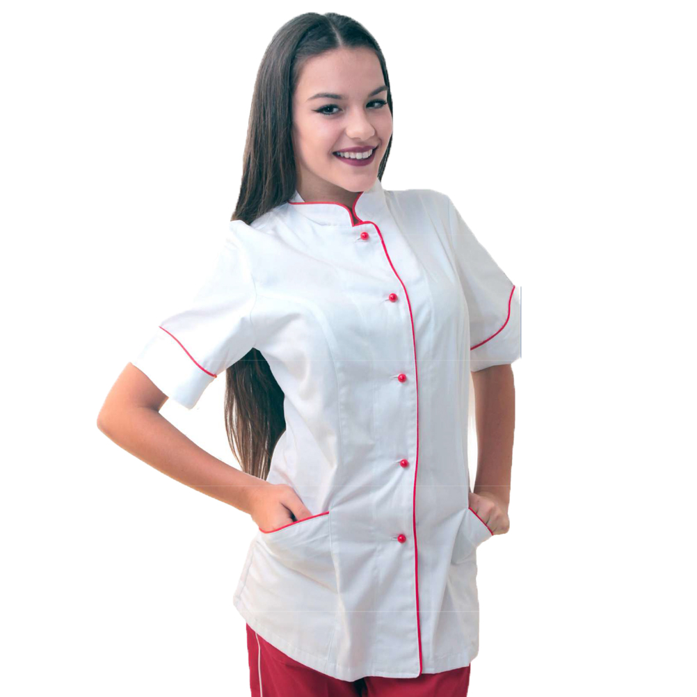 Jacket chefs short sleeve kitchen cook catering of white and black job