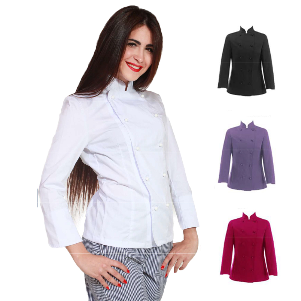 Jacket woman chef cook kitchen restaurant hotel women's colored slim