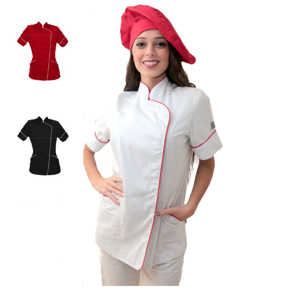 Jacket women's kitchen work cotton made in Italy bar and pizzeria-restaurant chef