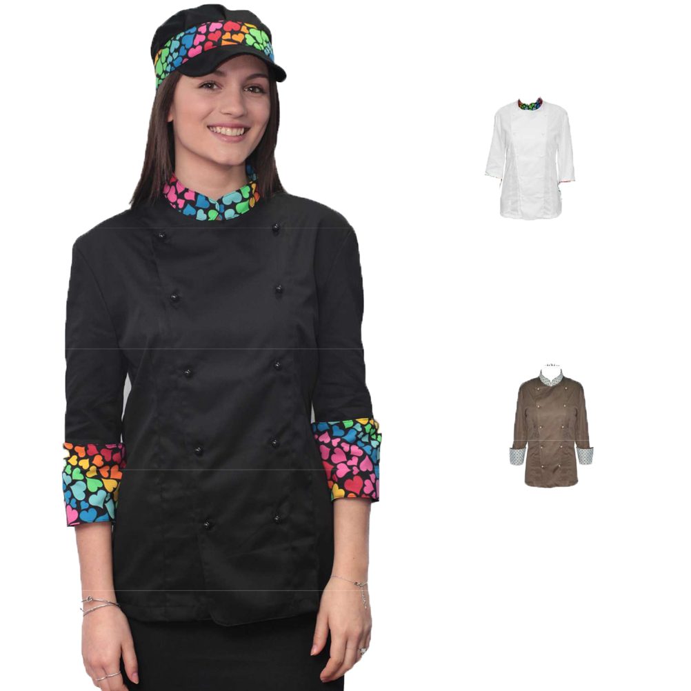 Split jacket the woman work, cook, catering chef pizzeria made in Italy bar