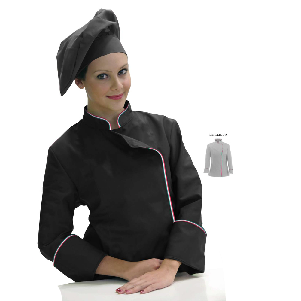 Jacket cook woman buttons italy chef pizzeria restaurant work uniform female