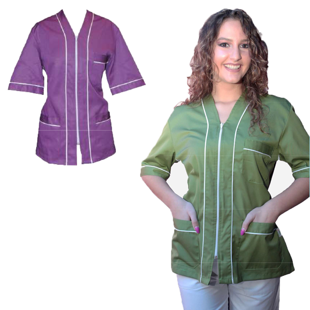 Jacket zip uniform beautician's hospital women's short-sleeved work shirts