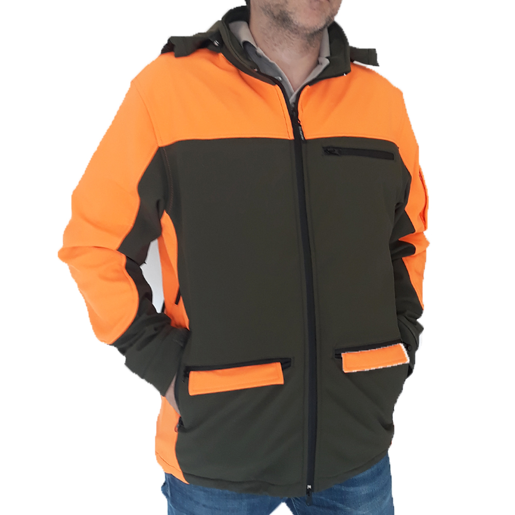 Veste soft shell jacket vert orange sanglier capot chasseur chasse