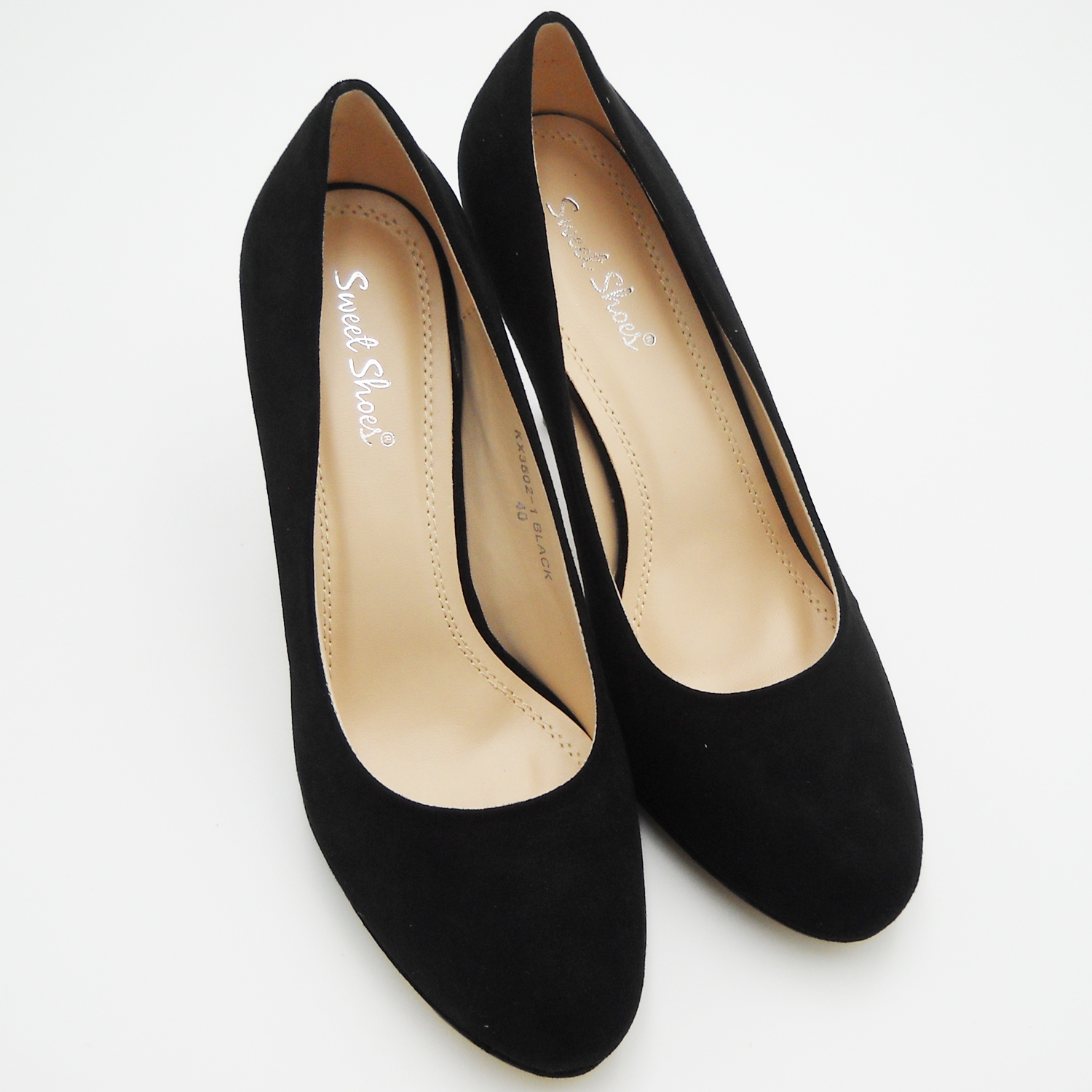 Shoes high heels black scamoscaite elegant woman decolte fashion sexy