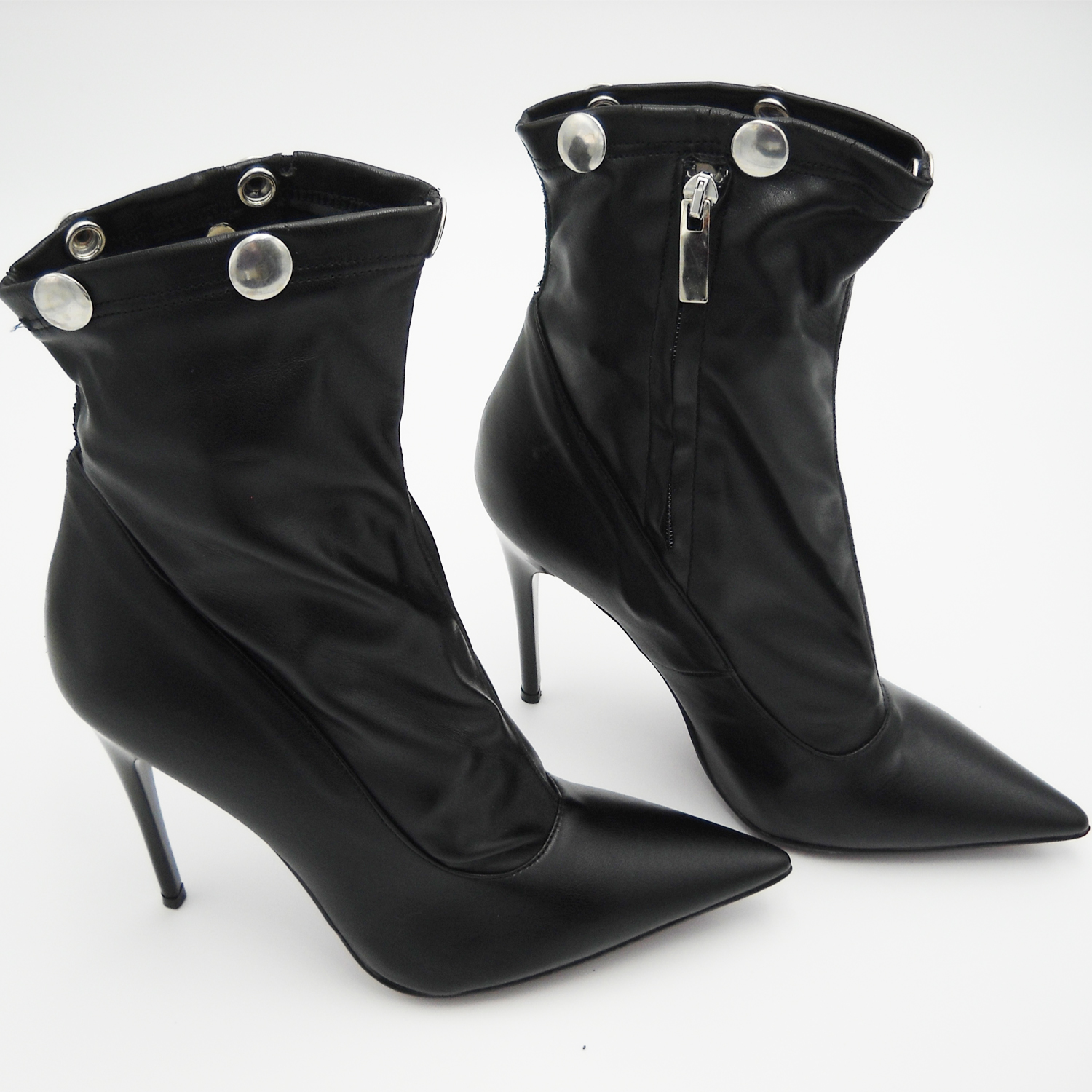 Ankle boots boots black leather spike heel sexy high fashion dark 37