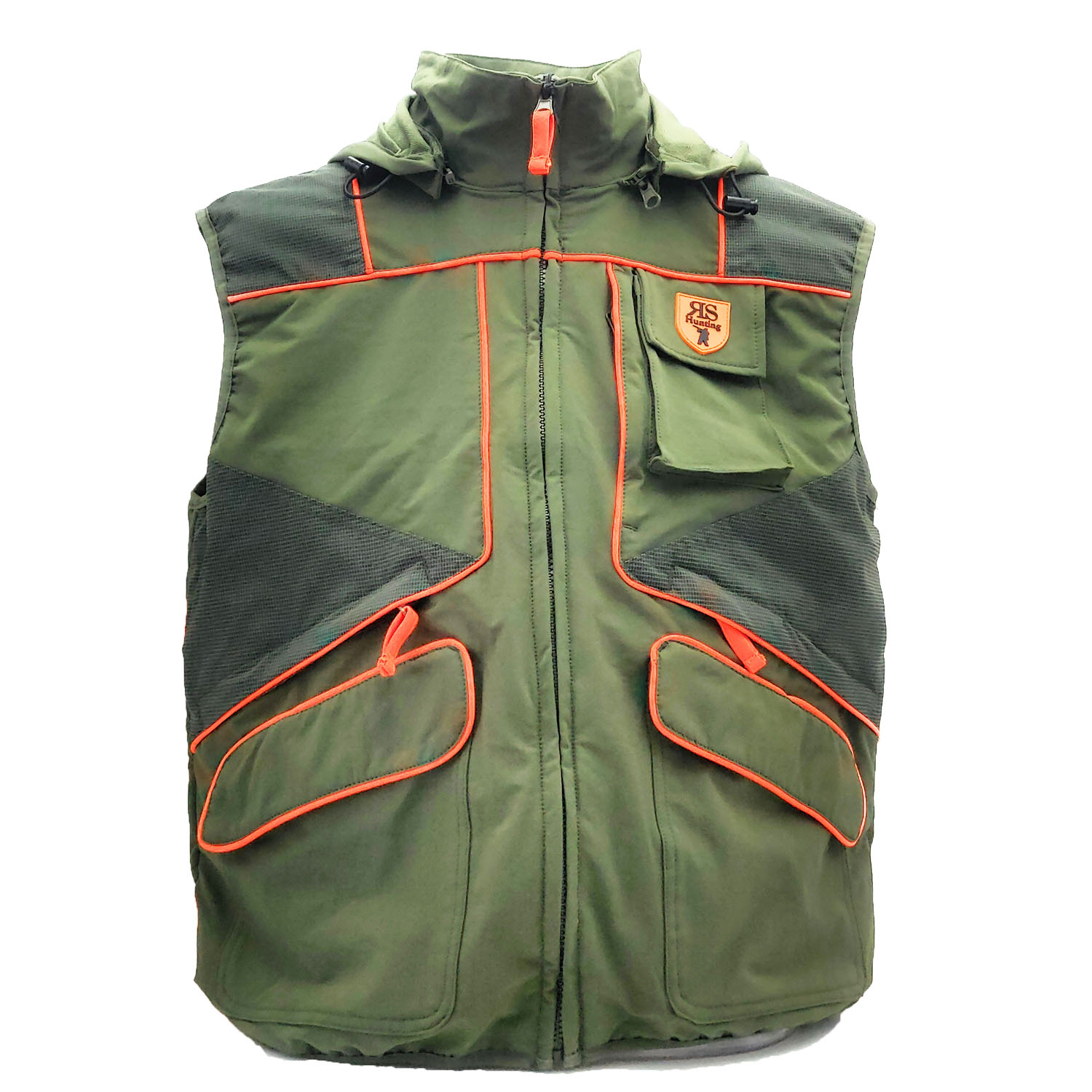 Vest hunting green elastic pockets waterproof safety cap man