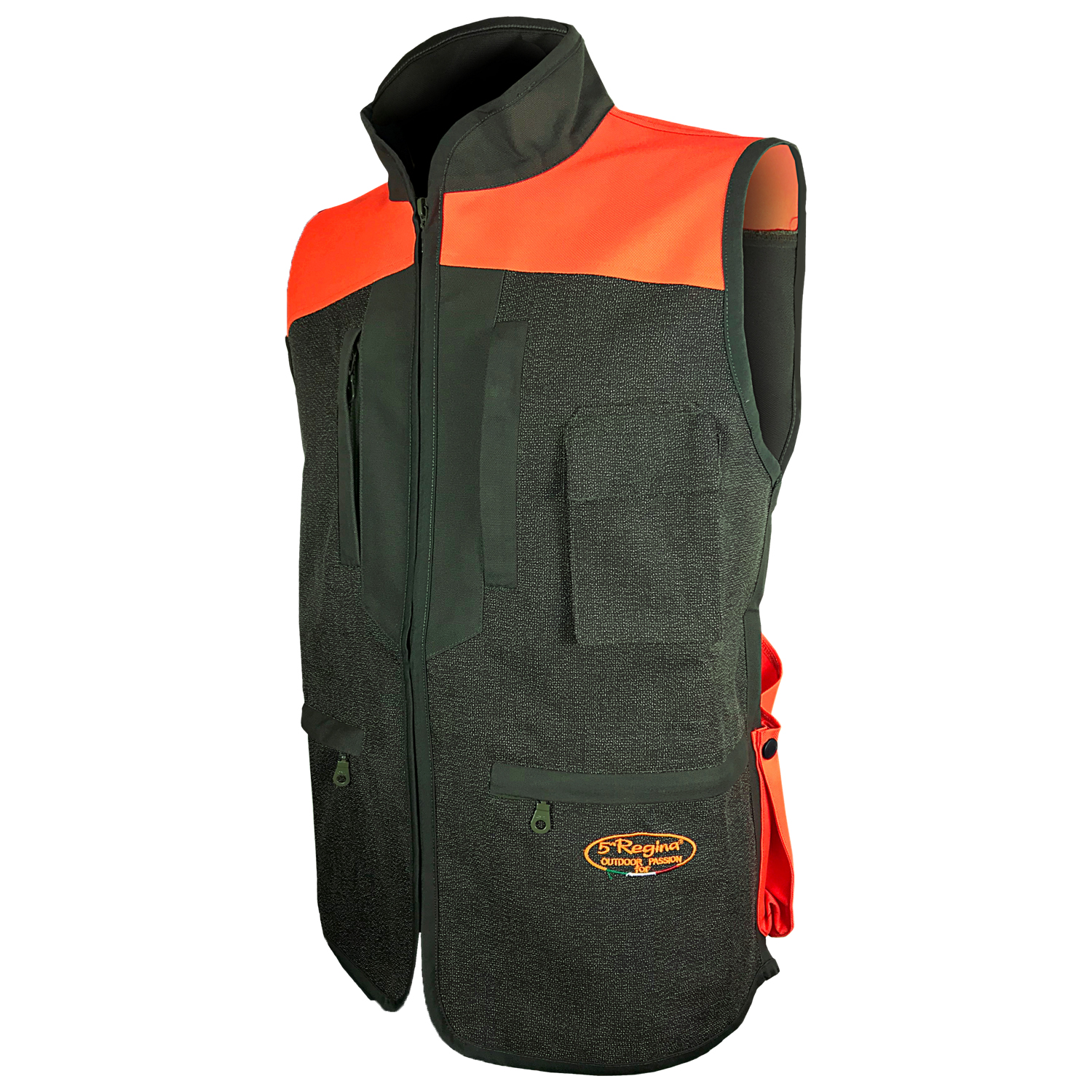 Vest hunting wild boar with orange kevlar cordura waterproof lined hinges