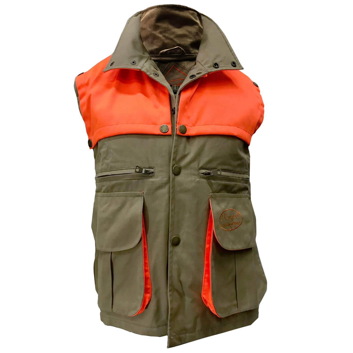 Sleeveless vest waxed hunting orange green pouch breathable cotton
