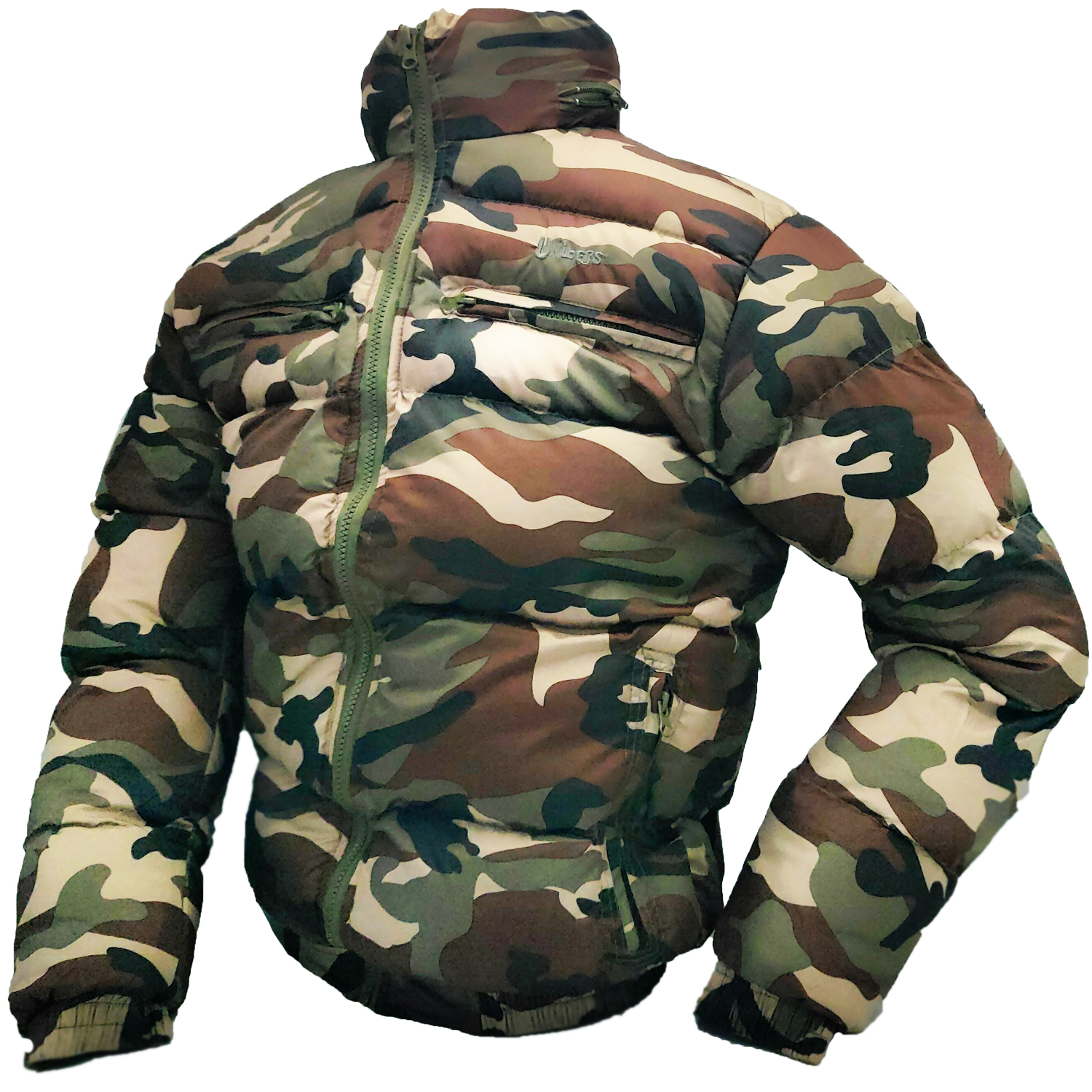 Bomber jacket quilted man winter snow camouflage padded