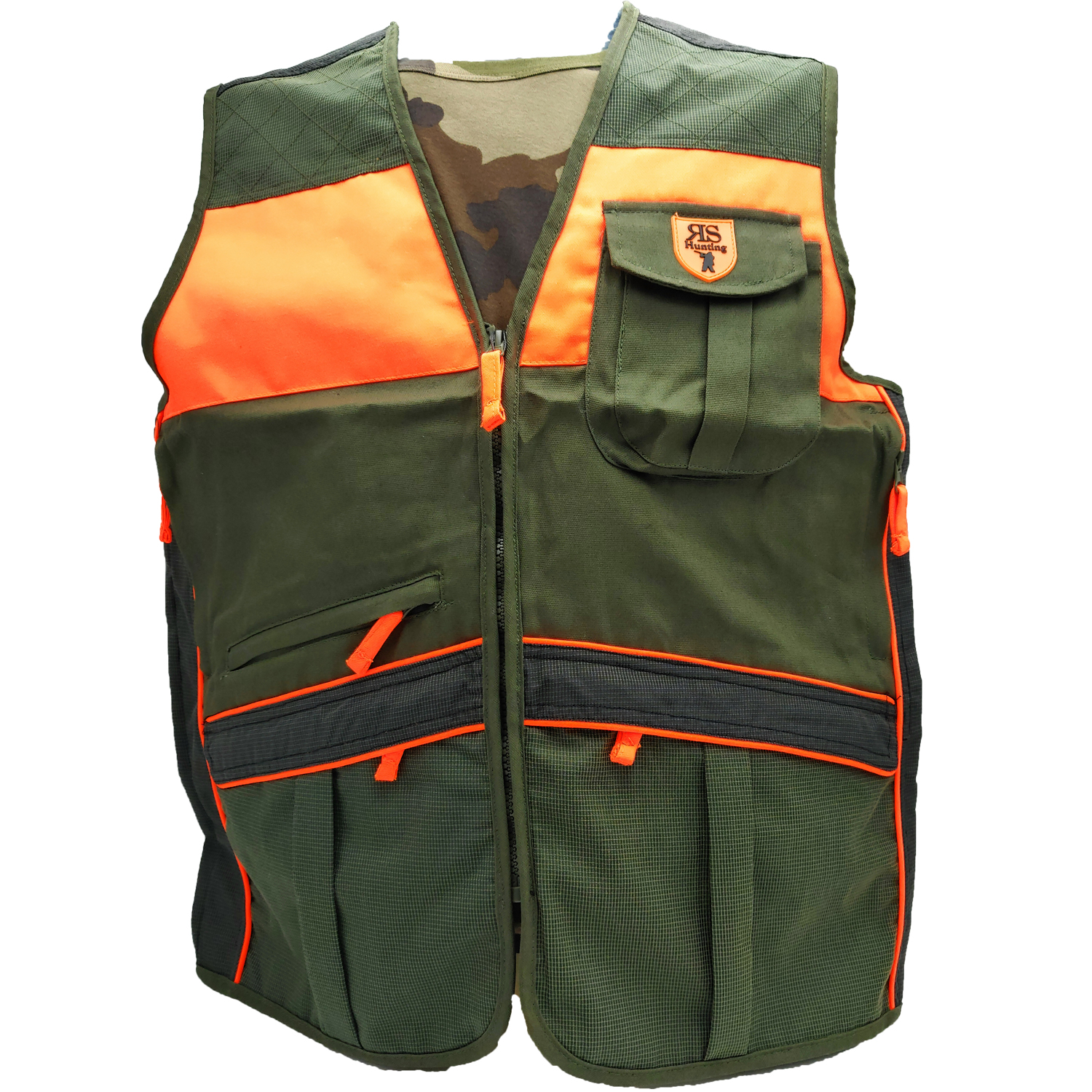 Sleeveless vest orange green canvas kevlar hunting outdoor pockets