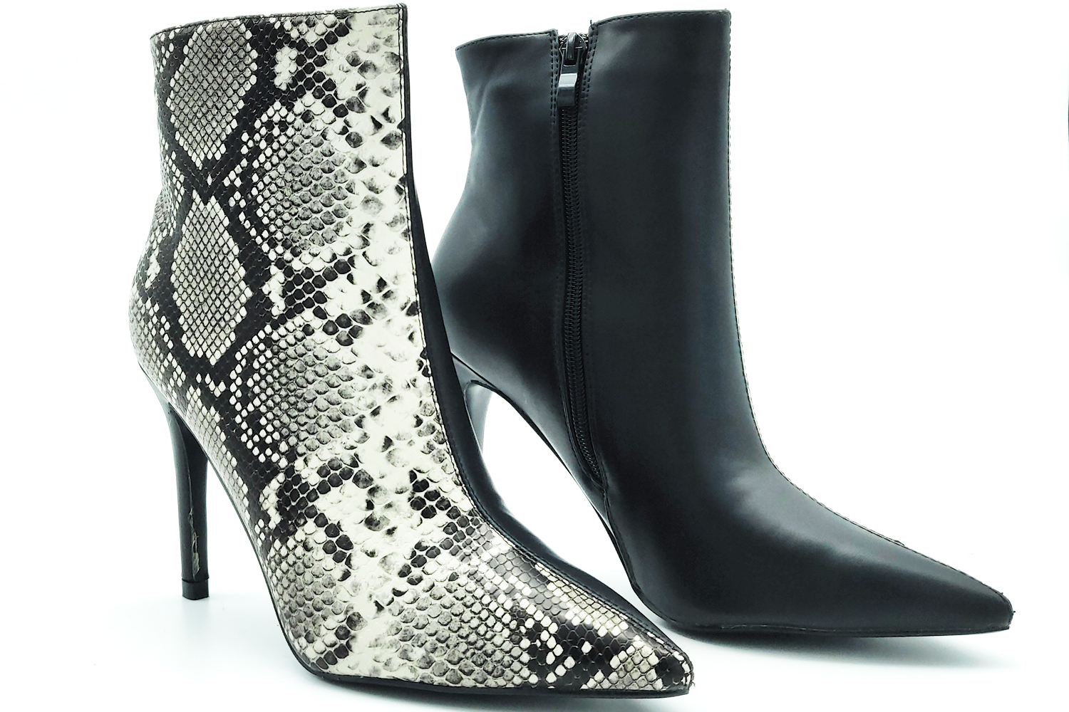 Ankle boots shoes woman python snake sexy high winter imitation leather