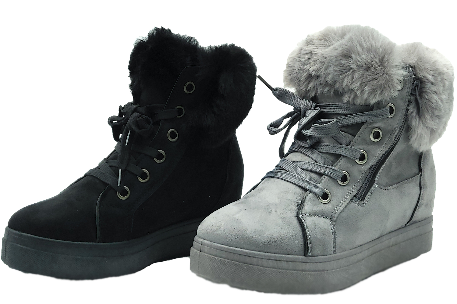 Shoes ankle boots lace-up woman's padded coat winter snow wedge hidden
