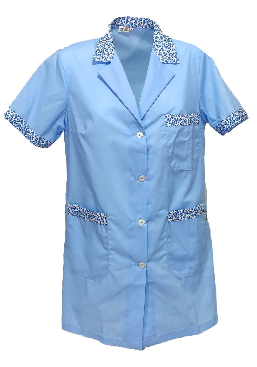 Coat women half sleeves working buttons cleaning teacher beautician dressing gown