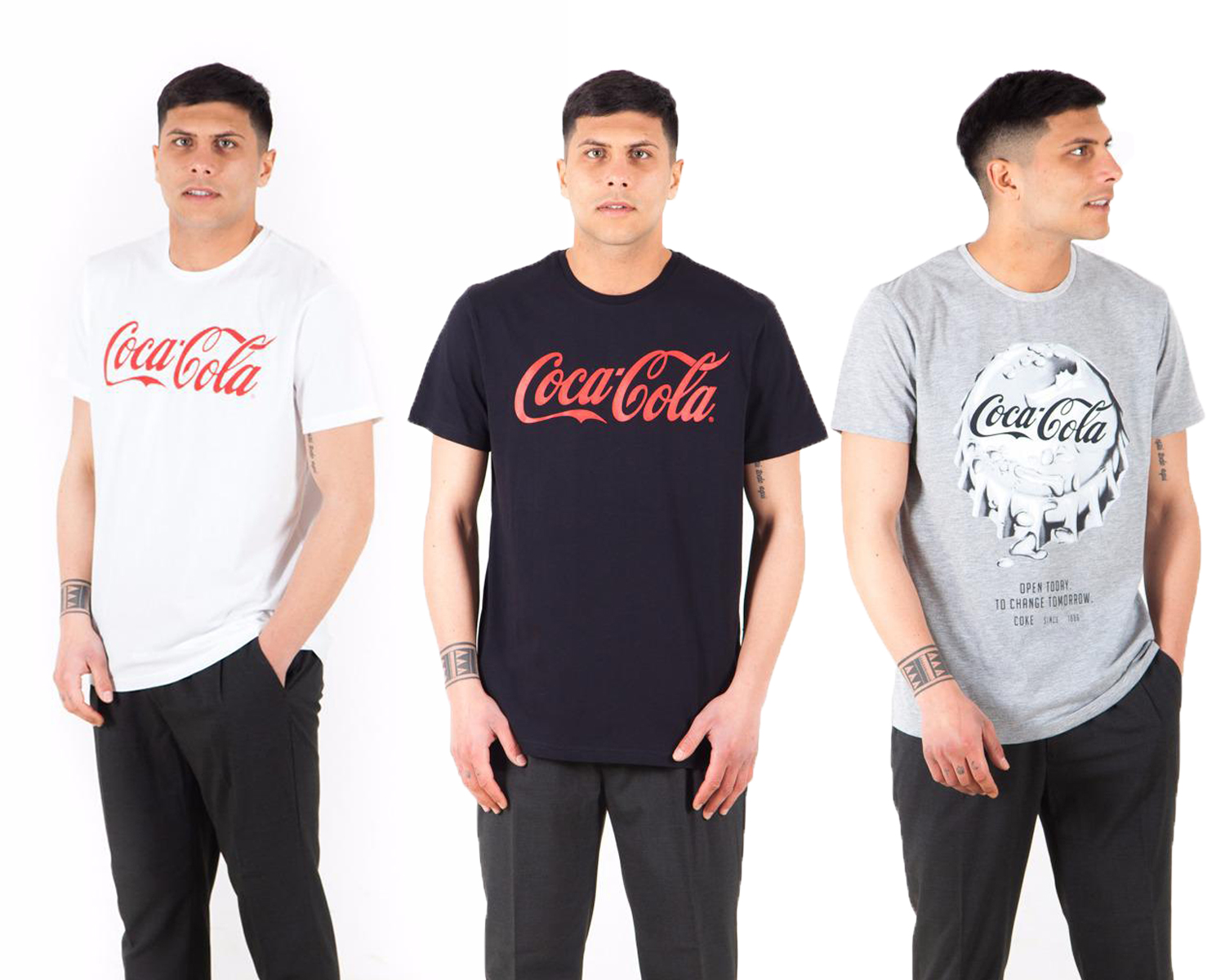 Set lot kit of three t-shirts t-shirts half sleeves coca cola, three-color