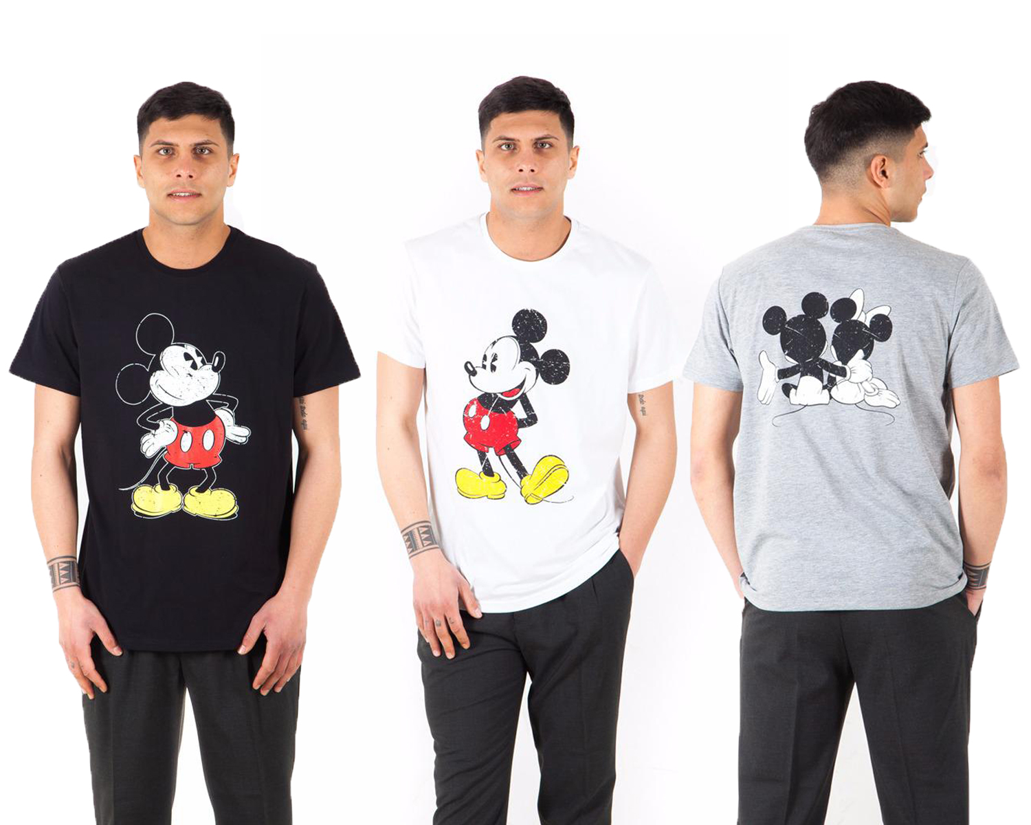 Set lot kit of three t-shirts t-shirts disney-half sleeves mickey mouse three-color