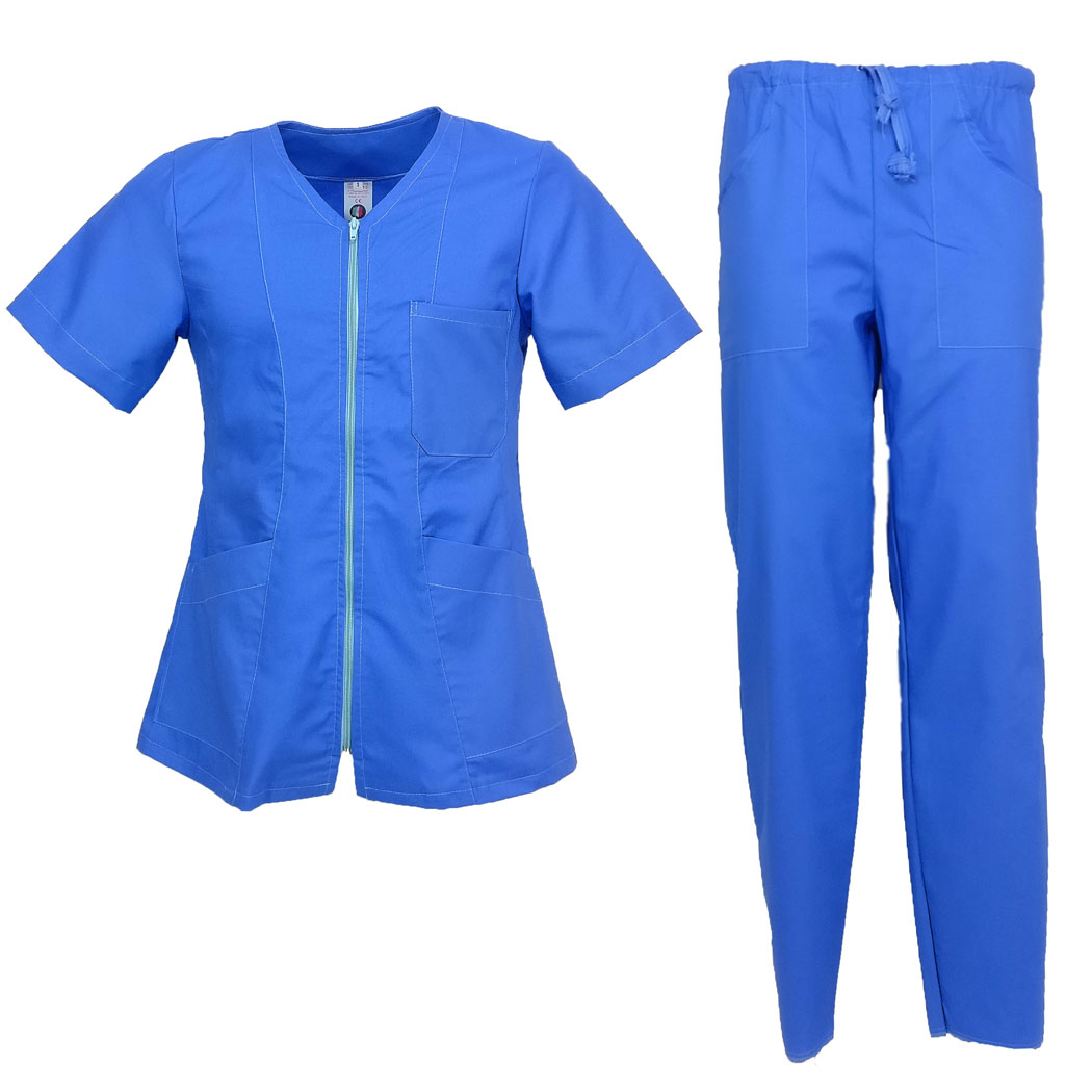 Full zip nurse oss cotton half sleeves split beautician doctor