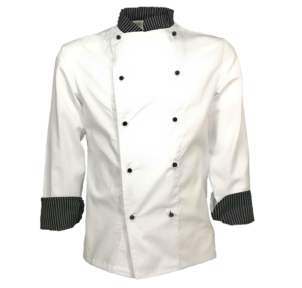 Jacket chef cook kitchen restaurant work pizzeria food cotton pinstripe