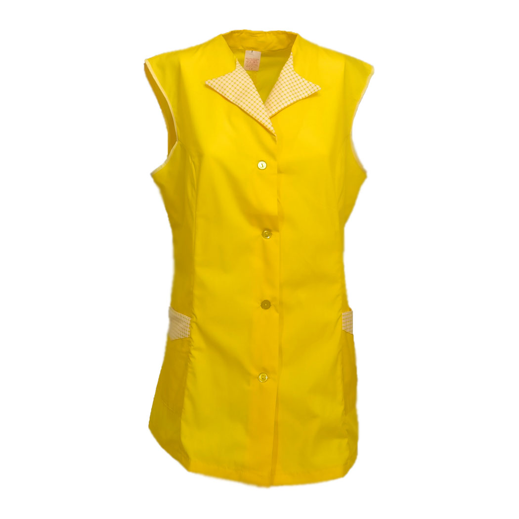 Shirts sleeveless women's round buttons summer cleaning work made in Italy