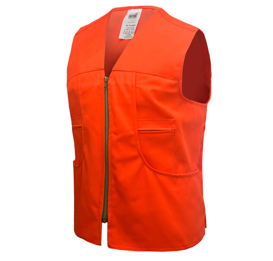 Sleeveless vest high visibility policotone hunting multipockets, made in Italy