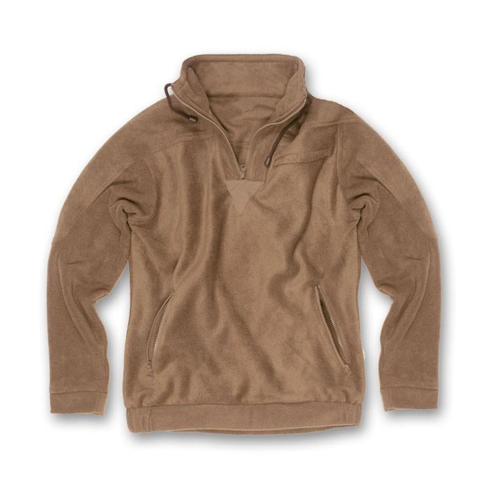 FRT-000001590 - Maglioni - fratelliditalia abbigliamento militare e softair  e abiti da lavoro - Maglia felpa maglione pile invernale zip tasche marrone beige  uomo calda caccia