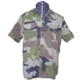 Man shirt shirt cotton half sleeves with French button placket camouflage military