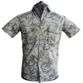 Shirt tunic blouse desert grey half sleeve men's slim camouflage