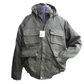 Vest jacket hunting padded cordura hood winter fishing dark green