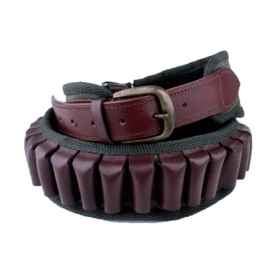 Cartridge belt fabric and leather 12 gauge leather cartridge hunting polygon