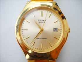 Watch gold casio gold quartz steel bracelet water resistant