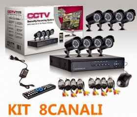 Kit video surveillance 4 camera infrared dvr cables and hd 500 gb