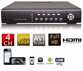 Dvr video recorder for cameras 4ch full d1 hdmi hard disk 500 gb included