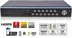 Dvr 8 channel full d1 h 264 cc