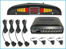 Kit, 8 parking sensors with led display, acoustic sound control unit black
